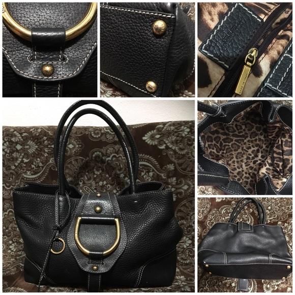 Dolce   Gabbana Bags   Dolce Gabbana Black Leather Gold Tone Handbag ... d10222c445